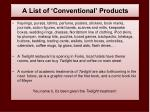 a list of conventional products