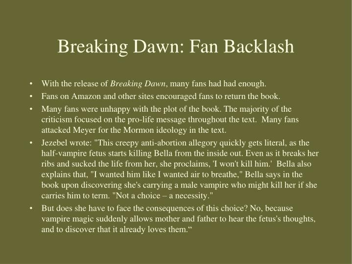 Breaking Dawn: Fan Backlash