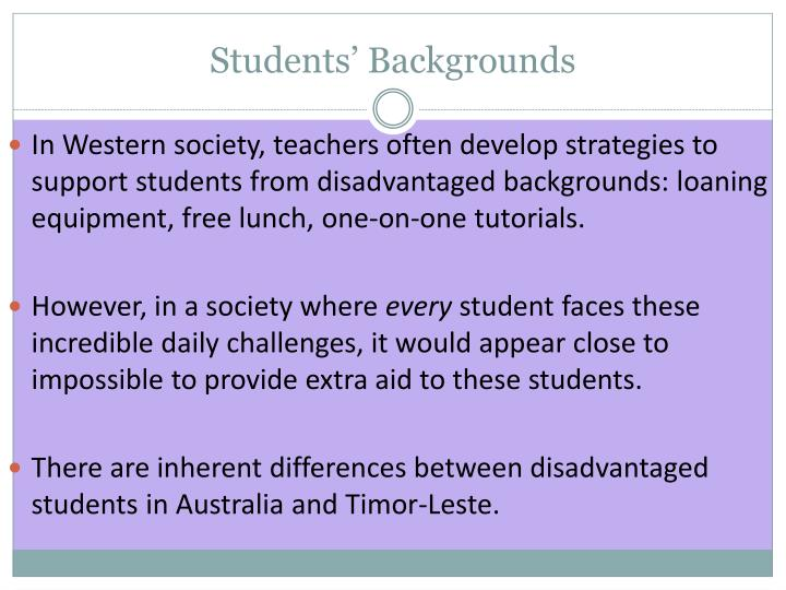Students' Backgrounds