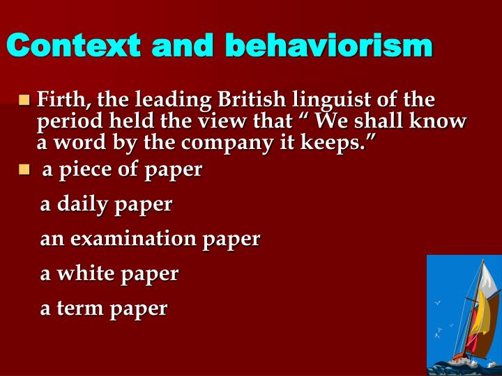 Context and behaviorism