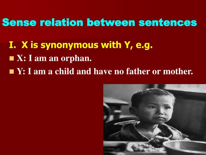 Sense relation between sentences