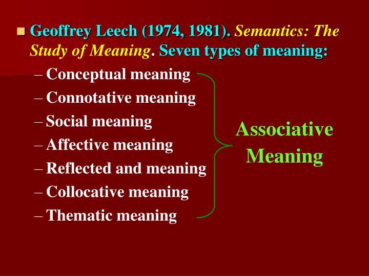 Geoffrey Leech (1974, 1981).