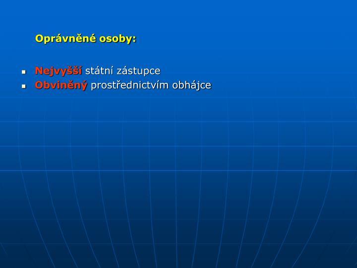 Oprávněné osoby:
