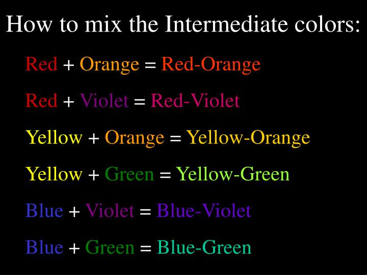 How to mix the Intermediate colors: