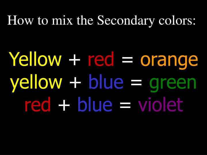 How to mix the Secondary colors: