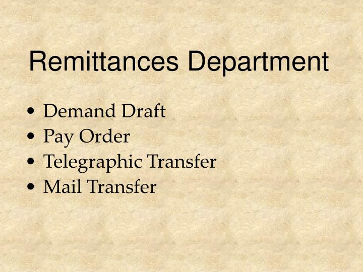 Remittances Department