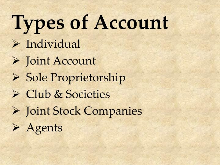 Types of Account