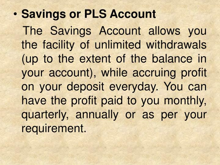 Savings or PLS Account