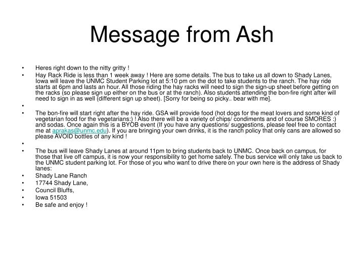 Message from ash