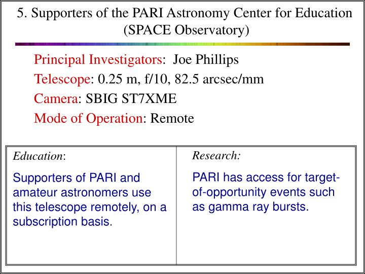5. Supporters of the PARI Astronomy Center for Education