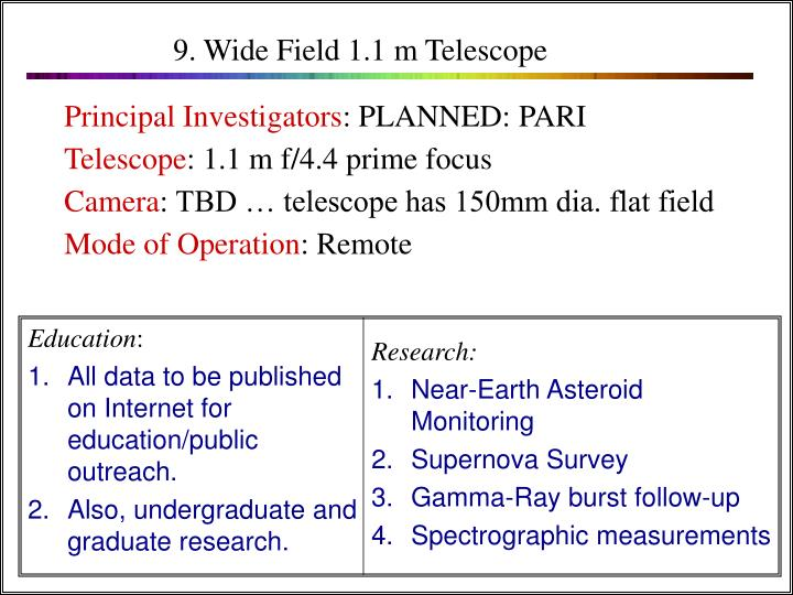 9. Wide Field 1.1 m Telescope