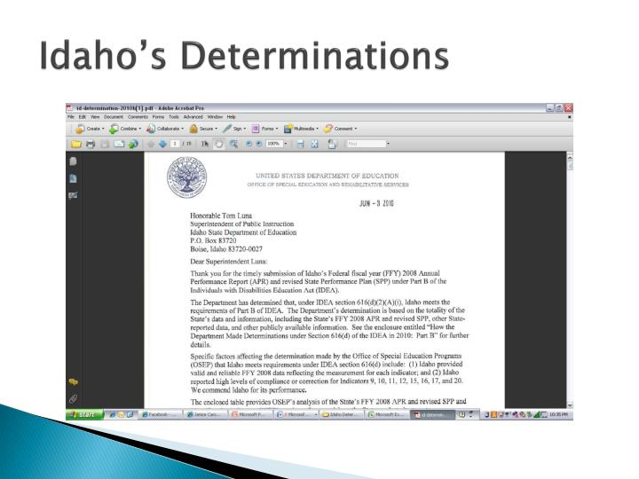 Idaho's Determinations