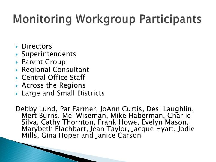 Monitoring Workgroup Participants