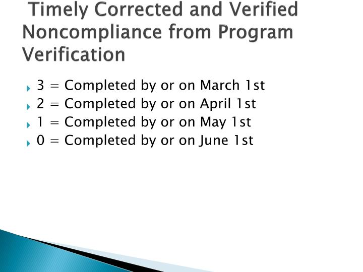 Timely Corrected and Verified Noncompliance from Program Verification