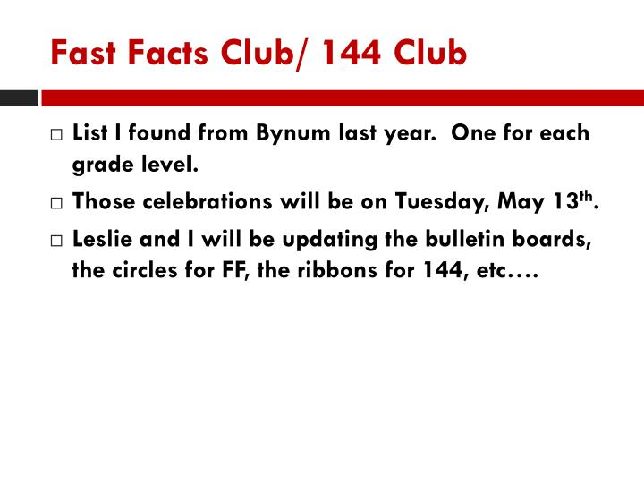 Fast Facts Club/ 144 Club