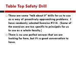 table top safety drill