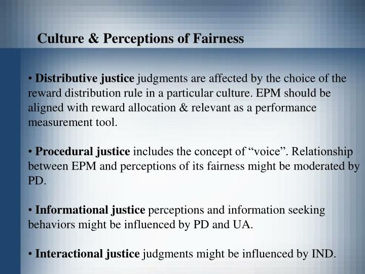 Culture & Perceptions of Fairness