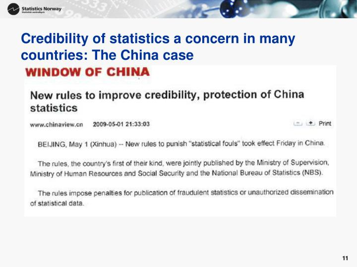 Credibility of statistics a concern in many countries: The China case
