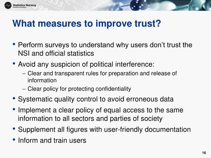 What measures to improve trust?