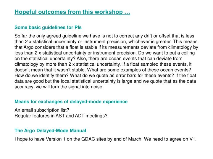 Hopeful outcomes from this workshop …