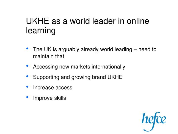 UKHE as a world leader in online learning