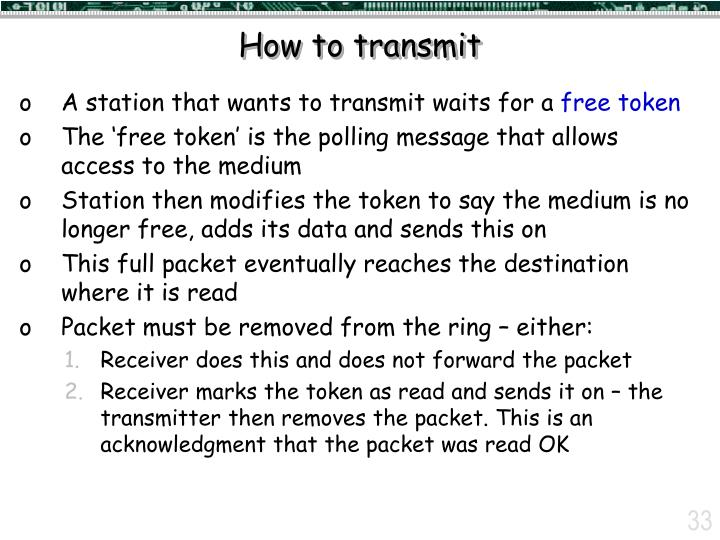 How to transmit