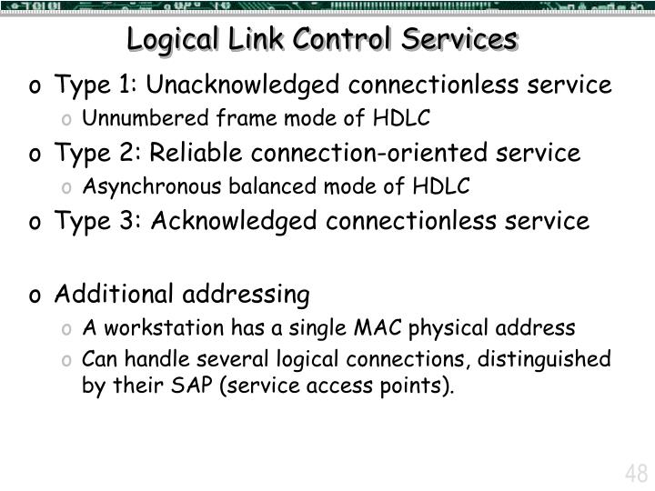 Logical Link Control Services