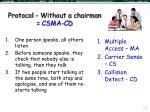 protocol without a chairman csma cd