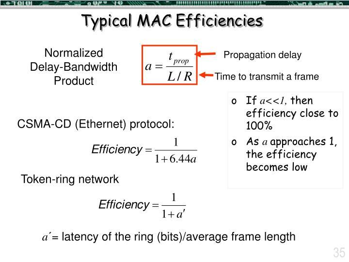 Typical MAC Efficiencies