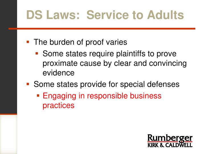 DS Laws:  Service to Adults
