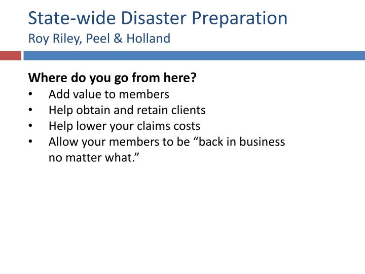 State-wide Disaster Preparation