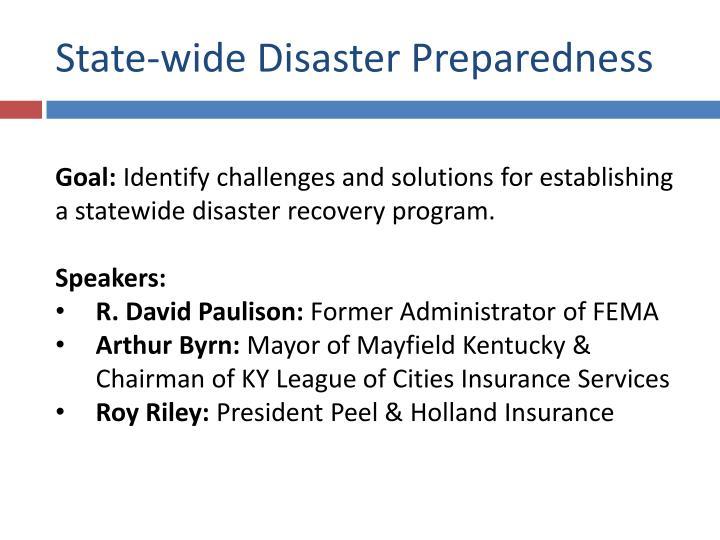 State-wide Disaster Preparedness