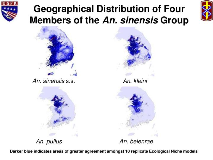 Geographical Distribution of Four Members of the