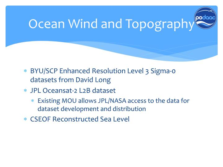 Ocean Wind and Topography
