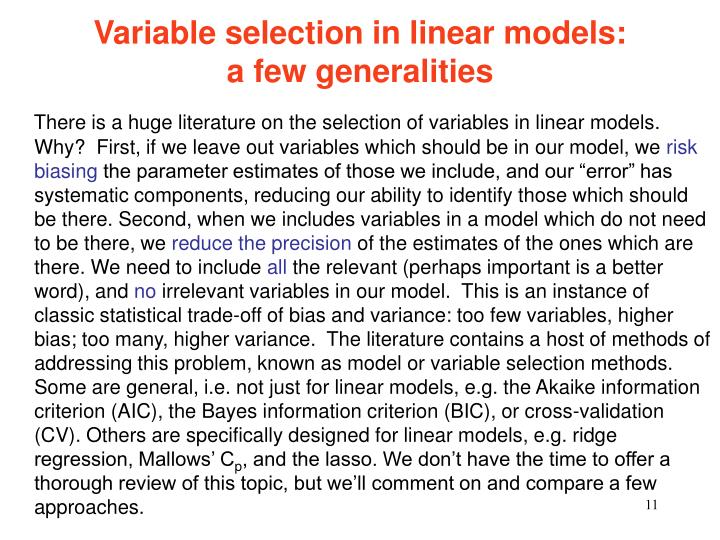 Variable selection in linear models:                  a few generalities