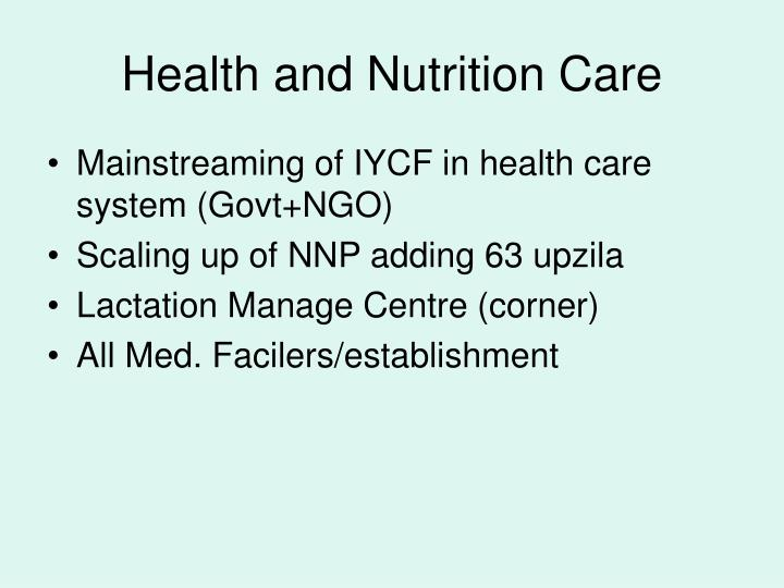 Health and Nutrition Care