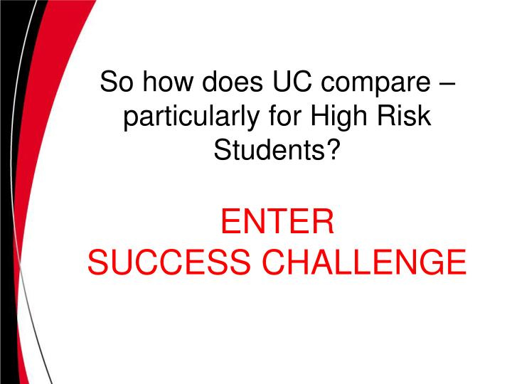 So how does UC compare – particularly for High Risk Students?