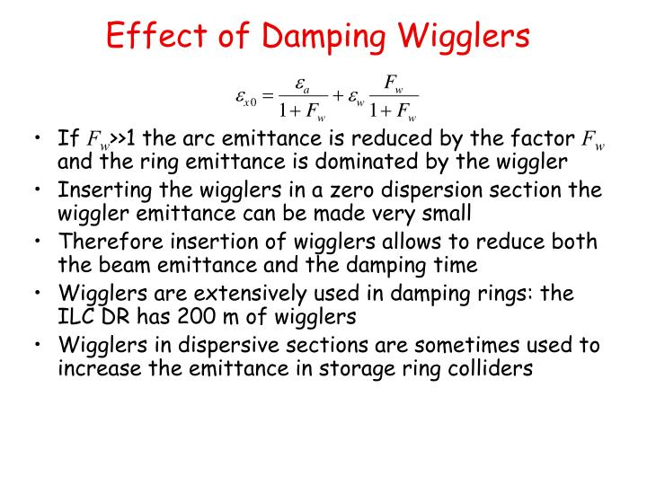 Effect of Damping Wigglers
