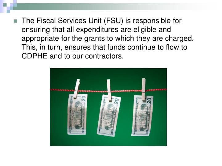 The Fiscal Services Unit (FSU) is responsible for ensuring that all expenditures are eligible and appropriate for the grants to which they are charged. This, in turn, ensures that funds continue to flow to CDPHE and to our contractors.