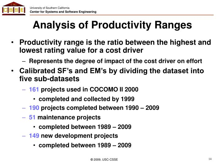 Analysis of Productivity Ranges