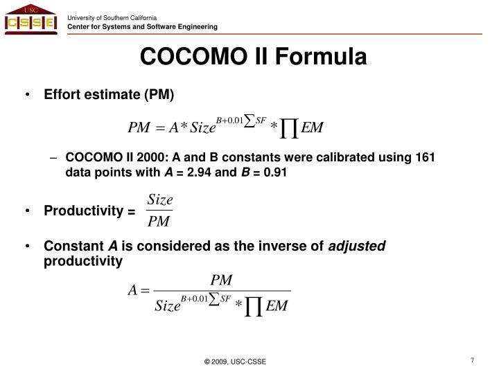 COCOMO II Formula