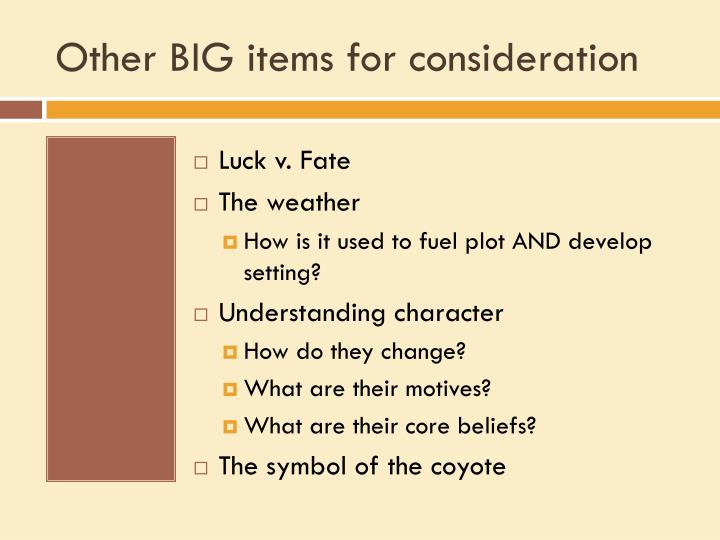 Other BIG items for consideration
