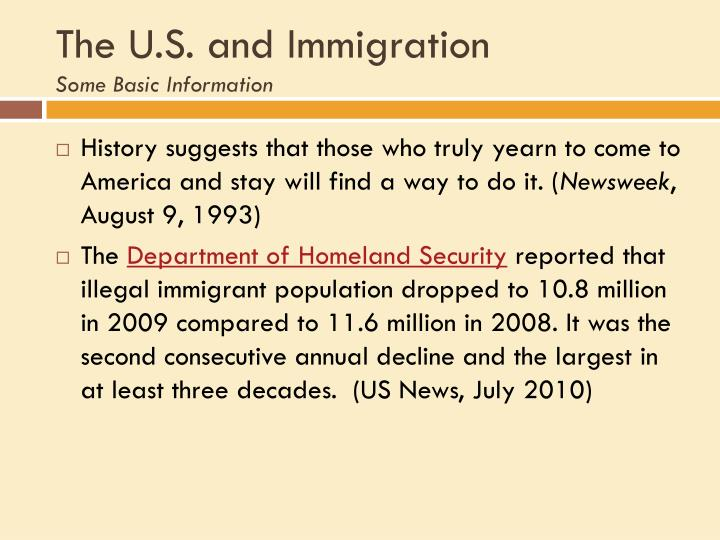 The U.S. and Immigration