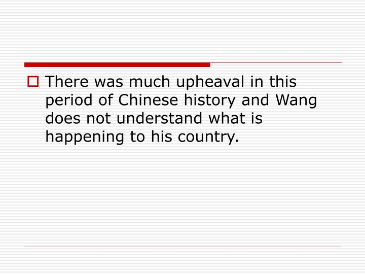 There was much upheaval in this period of Chinese history and Wang does not understand what is happening to his country.