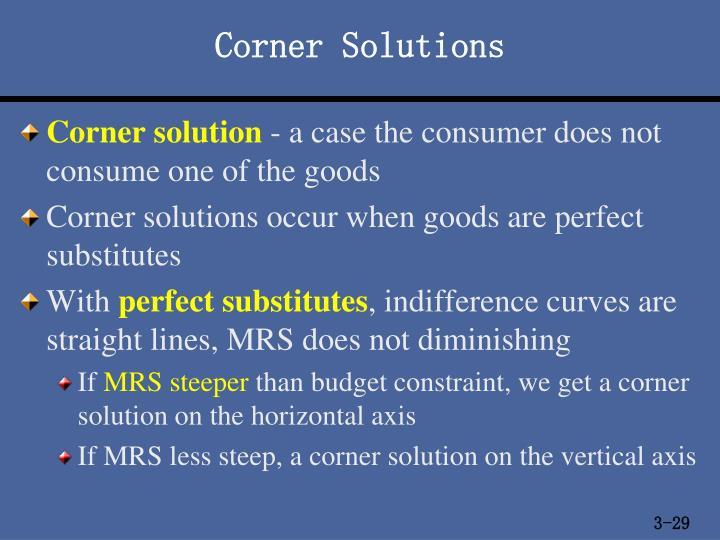 Corner Solutions