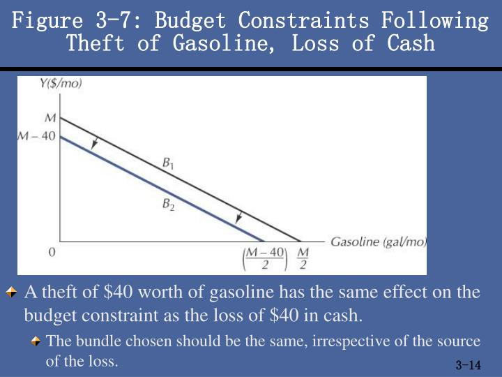 Figure 3-7: Budget Constraints Following Theft of Gasoline, Loss of Cash