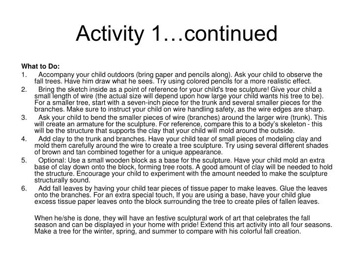 Activity 1…continued