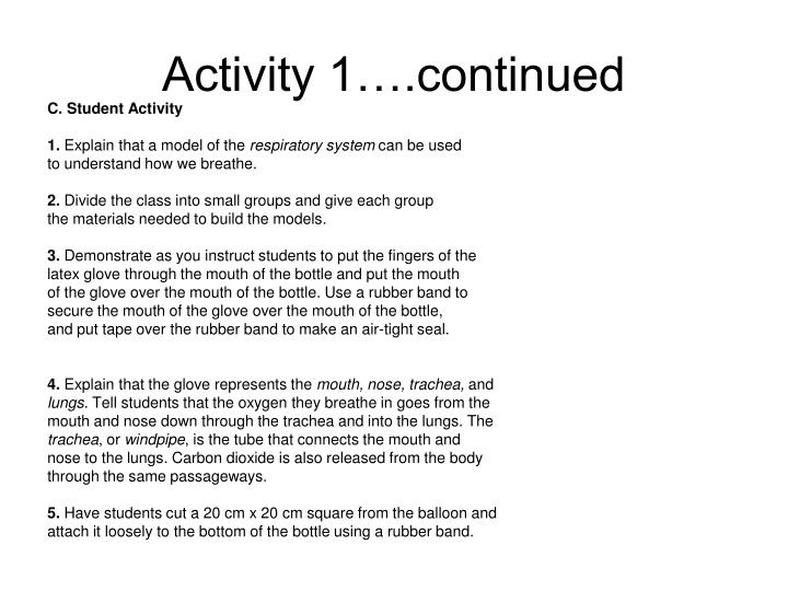 Activity 1….continued