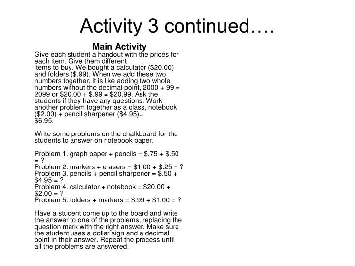 Activity 3 continued….