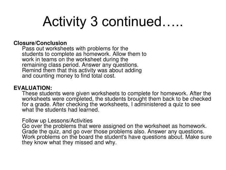 Activity 3 continued…..